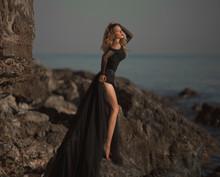 Young Woman In Long Transparen...
