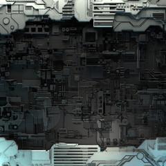 SciFi paneli. Futuristička tekstura. Geometrijski uzorak trupa svemirskog broda. 3d ilustracija.