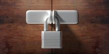 Wooden Door Locked, Padlock Cl...