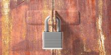 Padlock Closed, Rusty Industrial Door Locked. 3d Illustration