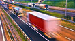 canvas print picture - Trucks on four lane controlled-access highway in Poland