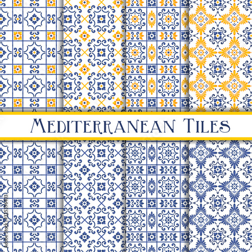 Fotografie, Obraz Beautiful painted mediterranean traditional tiles