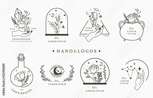 Fotografie, Obraz Beauty occult logo collection with hand,geometric,crystal,moon,eye,star