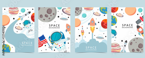 Fototapeta Collection of space background set with astronaut, planet, moon, star,rocket.Editable vector illustration for website, invitation,postcard and sticker obraz