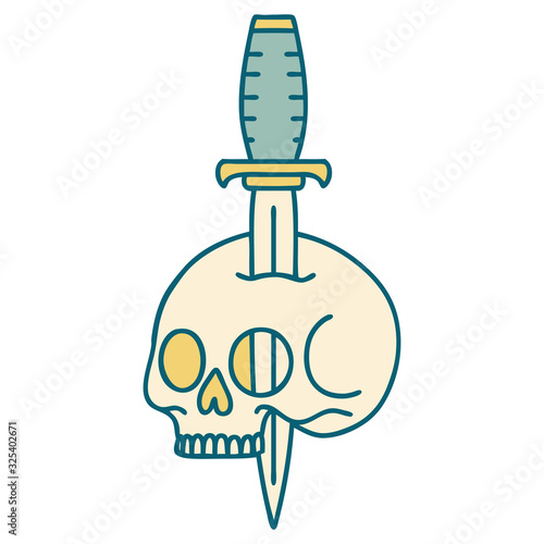 tattoo style icon of a skull and dagger Fototapeta
