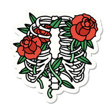 Tattoo Style Sticker Of A Rib Cage And Flowers