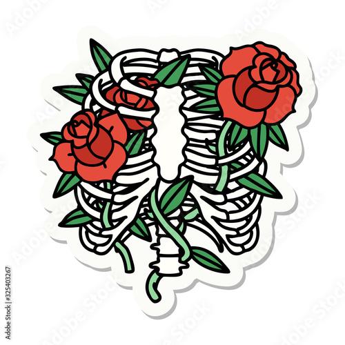 Fotografia, Obraz tattoo style sticker of a rib cage and flowers