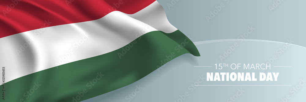 Fototapeta Hungary national day vector banner, greeting card.