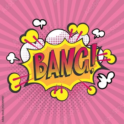 Bang pop art vector cartoon illustration poster Canvas Print