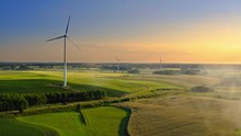 One Wind Turbine On Field In S...