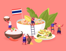 Traditional Thai Cuisine Concept. People In National Costumes And Tourists Around Huge Dish Tom Yam Kung Soup With Shrimps, Rice In Bowl, Salad With Nuts And Cucumbers Cartoon Flat Vector Illustration