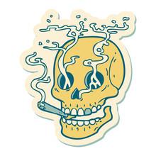 Tattoo Style Sticker Of A Skul...