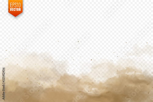 Obraz Realistic dust clouds. Sand storm. Polluted dirty brown air, smog. Vector illustration. - fototapety do salonu