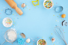 Easter Baking Background. Eggs...