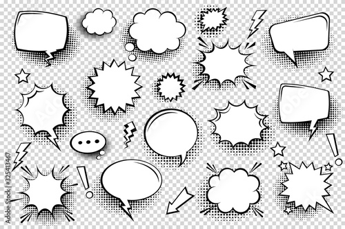Collection of empty comic speech bubbles with halftone shadows. Hand drawn retro cartoon stickers. Pop art style. Vector illustration. - 325413467