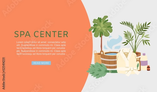 Spa and sauna center banner vector illustration. Sauna and bath accessories web banner. Buckets, brooms, soaps and bathing cloth with plants and steam for relaxing in sauna.