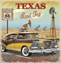 Vintage Texas Road Trip Poster.