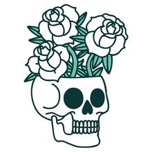 Tattoo Style Icon Of A Skull And Roses