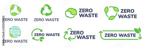 Obraz Zero waste labels. Green eco friendly label, reduce waste and recycle icon with plant leaves vector set. No plastic ecological protection logo with green recycling arrows signs - fototapety do salonu