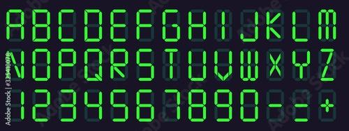 Fototapeta Digital display font. Alarm clock letters and numbers, electronic alphabet and retro calculator screen symbols vector set. lcd monitor and scoreboard digital abc characters obraz