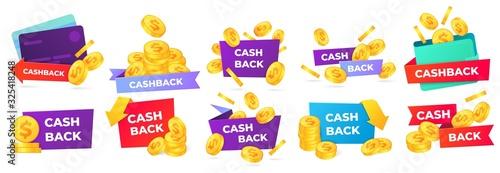 Fototapeta Cashback badges. Money return label, shop sale offers and cash back banner. Golden coins in wallet vector illustration set. money back from purchases and payment stickers obraz