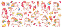 Cute Pony And Cat Unicorns. Baby Rainbow Pegasus And Caticorn, Diamond And Crown, Butterfly And Magic Wand Isolated Cartoon Vector Characters Set For Kids Book