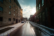 Queen Street in the Morning During Winter in Griffintown, Montreal, Quebec / Canada