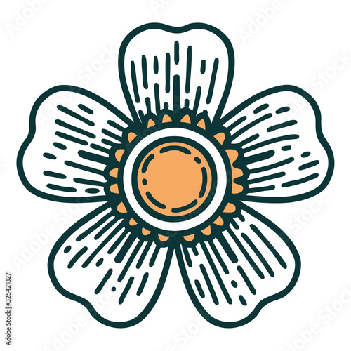 Cuadros en Lienzo tattoo style icon of a flower
