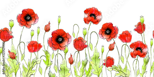 Obraz maki   seamless-horizontal-pattern-field-poppies-of-different-angles-in-retro-style-hand-made-graphics