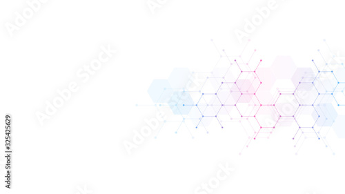 Obraz Abstract background with hexagons pattern. Concepts and ideas for medical, science and technology design. - fototapety do salonu