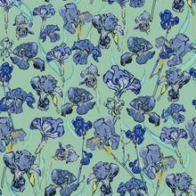 Irises Flowers. Vector Illustration, Seamless Pattern Based On The Oil Painting Of Van Gogh.