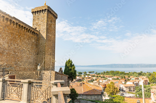 The Castle and a view over the lake and the town of Bolsena, province of Viterbo Canvas Print