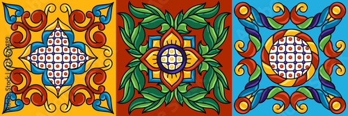 Photo Mexican talavera ceramic tile pattern