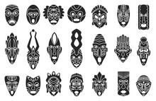 African Mask Black Set Icon.tr...
