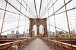 Brooklyn Bridge, New York, USA. Beautiful view of Manhattan, NYC. Manhattan midtown view panorama in financial district. Business background.