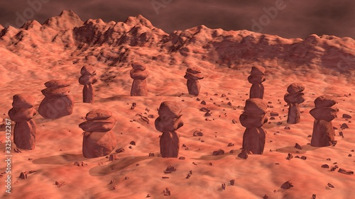 Stone structures on ancient alien world Wallpaper Mural