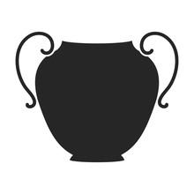 Ceramic Vase Vector Icon.Black Vector Icon Isolated On White Background Ceramic Vase .