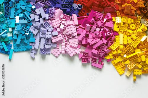 Obraz Pile of child's building blocks in multiple colours - fototapety do salonu