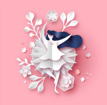 Papercut Spring Flower And Woman Pink Background