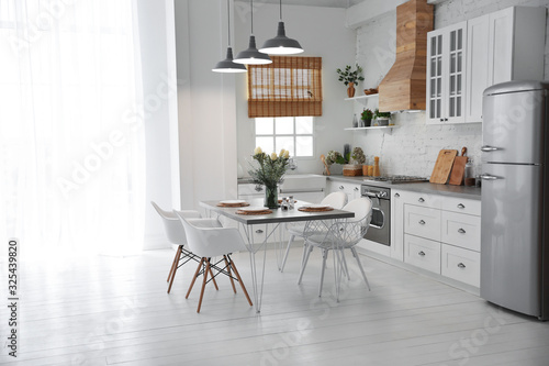 Beautiful kitchen interior with new stylish furniture Canvas