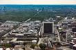 Blick vom Berliner Fernsehturm in Richtung Brandenburger Tor und Reichstag
