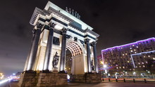Triumphal Arch In Moscow With Christmas Illuminations At Night Timelapse