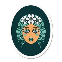 Tattoo Style Sticker Of A Maiden