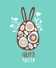 Happy Easter Card Of Cute Chocolate Bunny Egg