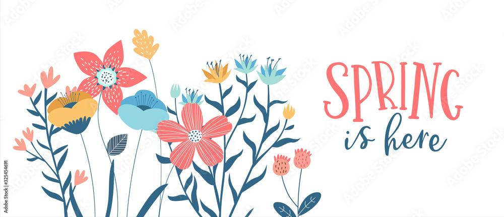Fototapeta Spring season card of hand drawn cute flowers