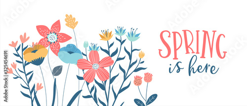 Spring season card of hand drawn cute flowers - 325454691