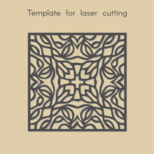 Template For Laser Cutting. Geometric Pattern For Cut. Vector Illustration. Decorative Stand.