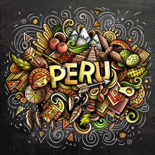 Peru Hand Drawn Cartoon Doodles Illustration. Funny Design.