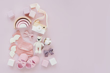 Set Of Baby Stuff And Accessories For Girl On Pastel Background. Pink Socks, Shoes And Toys. Baby Shower Concept.  Fashion Newborn. Flat Lay, Top View