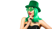 St. Patrick's Day Leprechaun Model Girl In Green Hat, Funny Clover Shaped Sunglasses, Isolated On White Background And Smiling, Having Fun. Patrick Day Pub Party, Celebrating. Green Beer. Ads